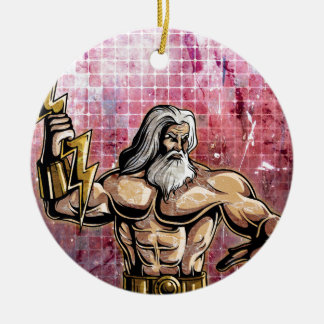 Zeus Double-Sided Ceramic Round Christmas Ornament