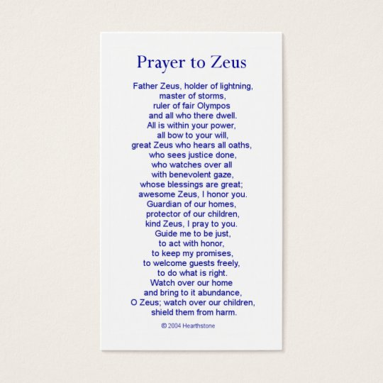 Zeus Prayer Card