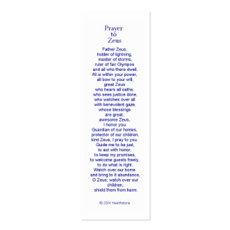 Zeus Prayer Card Double-Sided Mini Business Cards (Pack Of 20)
