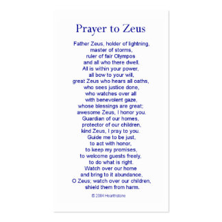 Zeus Prayer Card Double-Sided Standard Business Cards (Pack Of 100)