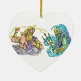 Zeus Thunderbolt Vs Poseidon Trident Tattoo Ceramic Ornament