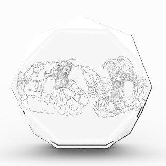 Zeus Vs Poseidon Black and White Drawing Acrylic Award