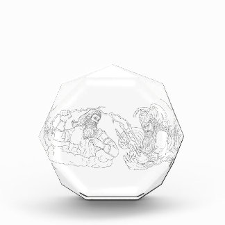 Zeus Vs Poseidon Black and White Drawing Award