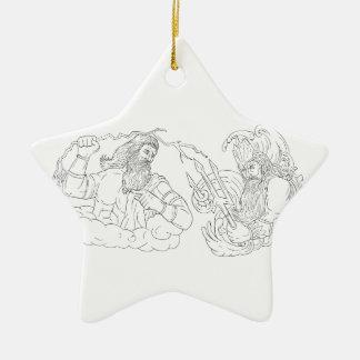 Zeus Vs Poseidon Black and White Drawing Ceramic Ornament