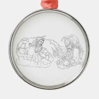 Zeus Vs Poseidon Black and White Drawing Metal Ornament