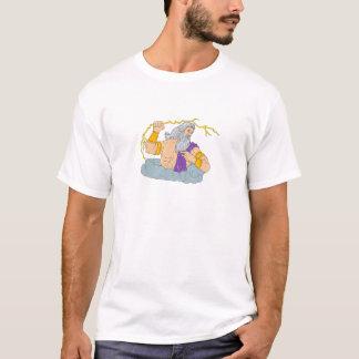Zeus Wielding Thunderbolt Lightning Drawing T-Shirt