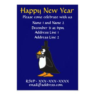 ZF- pingüino de la invitación del fiesta de Noche