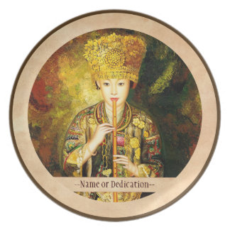 Zhangbo Hmong Culture Girl is Piping chinese lady Melamine Plate