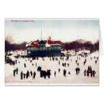 ZHR0030 1908 Vintage Skating at Lincoln Park, Chic Stationery Note Card