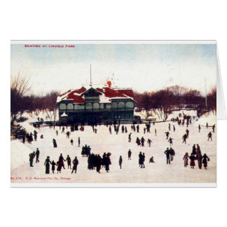 ZHR0030 1908 Vintage Skating at Lincoln Park, Chic Greeting Cards