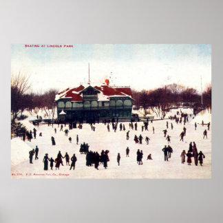 ZHR0030 1908 Vintage Skating at Lincoln Park, Chic Poster