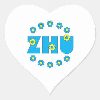 Zhu in Flores Blue Heart Sticker
