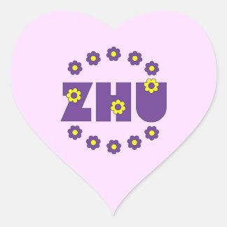 Zhu in Flores Purple Heart Sticker