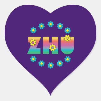 Zhu in Flores Rainbow Heart Sticker