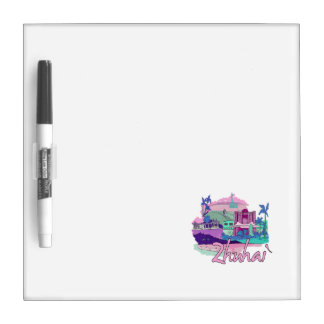 zhuhai city vacation graphic pink.png dry erase whiteboard