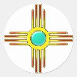 Zia sol - Zia Pueblo fuerza símbolo - Etiquetas