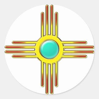 Zia Sonne - Zia Pueblo - Kraft Symbol Runde Aufkleber
