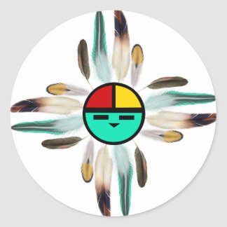 Zia Sun God with Feathers Classic Round Sticker