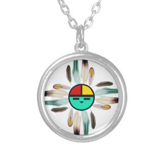 Zia Sun God with Feathers Silver Plated Necklace