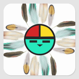 Zia Sun God with Feathers Square Sticker