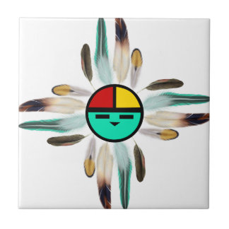 Zia Sun God with Feathers Tile