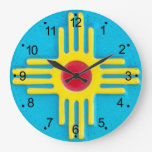 Zia Sun Large Clock at Zazzle