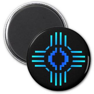 Zia Sun Sign Blue 2 Inch Round Magnet