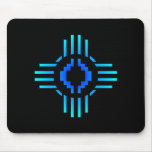 Zia Sun Sign Blue Mouse Pad
