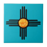 "Zia Sun Symbol Tile<br><div class=""desc"">This is a Native American Zia Sun God with the flaming orange and yellow sun in the center.</div>"