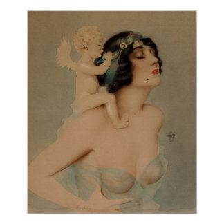 Ziegfeld Girl with Angel Pin Up Art Poster