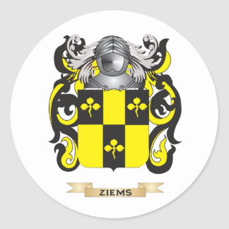 Ziems Family Crest Coat of Arms Round Sticker