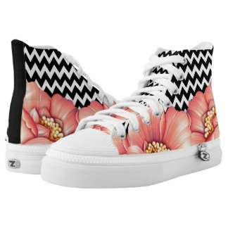 zig zag and flowers printed shoes