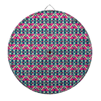 Zig Zag Aztec Andes Tribal Pattern Dartboard With Darts