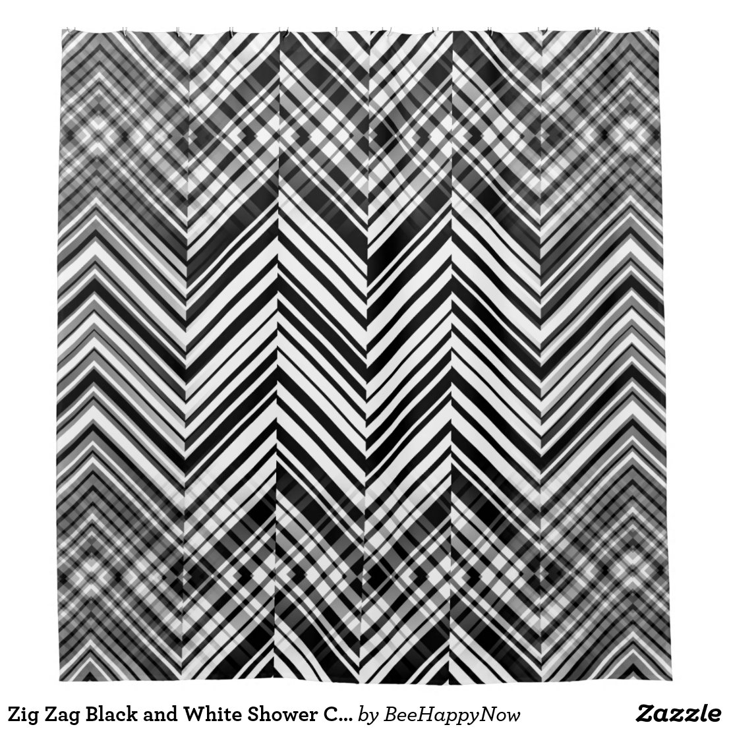 Zig Zag Black and White Shower Curtain