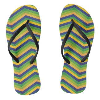 Zig Zag Brazil Design Flip Flops