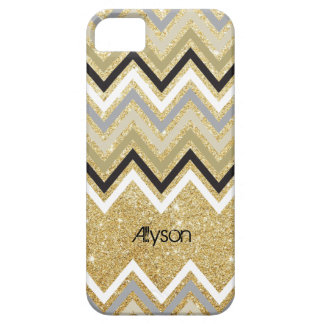 Zig Zag Chevron Pattern Gold Glitter iPhone 5 Case