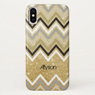 Zig Zag Chevron Pattern Gold Glitter Phone Case