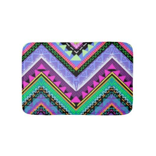 Zig zag colorful pattern print design bathroom mat zazzle for Zig zag bathroom decor