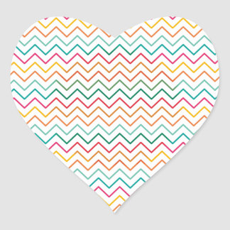 Zig Zag Colour Vintage Heart Sticker