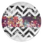 Zig zag Geometric Shapes Dinner Plate