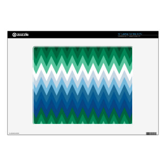 "Zig Zag Green Blue Pattern Decal For 12"" Laptop"