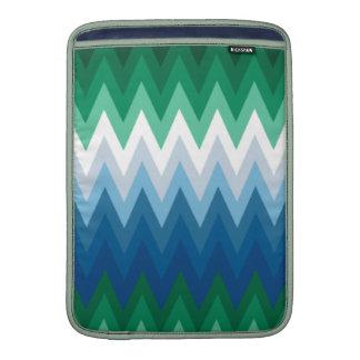 Zig Zag Green Blue Pattern MacBook Air Sleeves