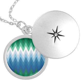 Zig Zag Green Blue Pattern Round Locket Necklace