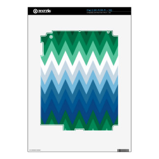 Zig Zag Green Blue Pattern Skins For The iPad 2