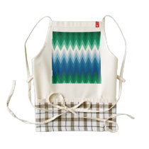 Zig Zag Green Blue Pattern Zazzle HEART Apron