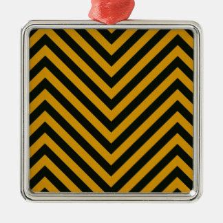 Zig Zag Hazard Striped Metal Ornament