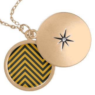 Zig Zag Hazard Striped Round Locket Necklace