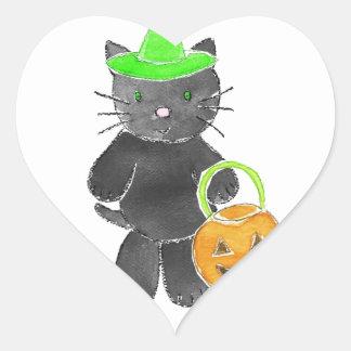 zig zag.jpg de la bruja del gato negro 3 pegatina en forma de corazón