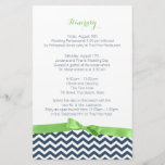 """Zig Zag Lime and Blue Itinerary<br><div class=""""desc"""">Navy blue and green color combination zigzag or chevron style pattern itinerary stationery with a green bow to compliment our invitations.</div>"""