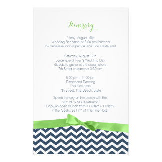Zig Zag Lime and Blue Itinerary Stationery